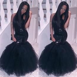Canada 2019 élégante fille noire sirène robes de bal africaines tenues de soirée, plus la taille longue paillettes sexy robes dos nu, pas cher parti robe de retour cheap images sexy girls Offre