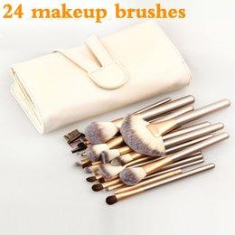 Capelli tontoni online-manico in legno di alta qualità professionale Cosmetici maquiagem taklon trucco pennello 24 pz capelli sintetici morbidi kabuki Make-up set di pennelli per il trucco