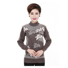 Wholesale Middle Age Women Clothing - Wholesale- Turtleneck Sweater Women Autumn Middle-aged Mother Clothes Long-sleeved Pullover Sweater Thin Knitwear With Diamond J352