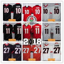 a1f3bf2fd Youth Georgia Bulldogs College Jerseys  11 Jake Fromm  10 Jacob Eason  27  Nick Chubb Kids 2018 Championship Rose Bowl Patch Black Red White