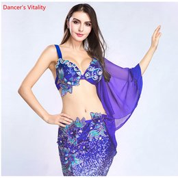 El nuevo 2pcs. Traje de lujo Bailarina Demostración de la etapa de la Mujer con sujetador + Vestido de triángulo Vestido de falda para danza del vientre Danza Desgaste desde fabricantes