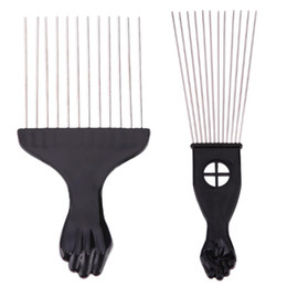 Schwarze afrikanische frisur online-Salon Use Black Metal African American Pick Comb Hair Combs Afro Hair Comb For Hairdressing Styling Tool