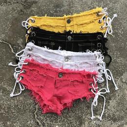 Hot low cut hose online-Frauen Quaste Ripped Side Lace Up ausgeschnitten Ultra Low Waist Jeans Denim Shorts Hot Pants Booty Twerk