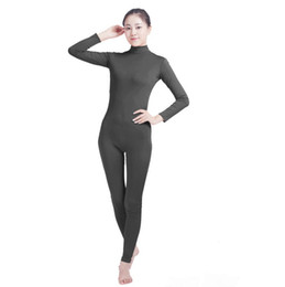 grey suits for women Promo Codes - (SWH027) Dark Grey Spandex Full Body Skin Tight Jumpsuit Zentai Suit Bodysuit Costume for Women Men Unitard Lycra Dancewear