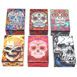 Wholesale Carved Cases - Promotion! Ghost Cigarette Case Skull Head Tobacco Storage Case Pocket Box,Protect Your Cigarette and other Rolls Fast Shipping
