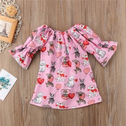 Wholesale Girls T Shirts Dogs - 2018 New Summer Cartoon Dog Love Heart Girls Tops Valentine's Day Infant T-shirt INS Toddler Tops Cute Fashion Girl Tee Shirt