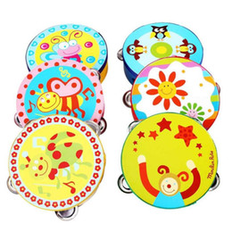 Wholesale Tambourine Rattle - Hot Sale Kid New Gift Jingle Percussion Hand Bell Tambourine Musical Instrument Toy Baby Wooden Rattles Toys Bebek Oyuncak