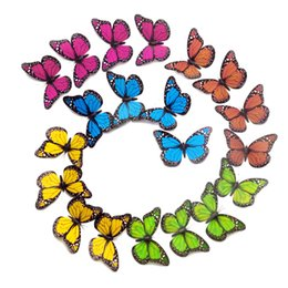Wholesale 3d Fairy Stickers - Fairy 12cm Single Layer Wings King Butterflies 3D Cinderella Butterfly 10 Colors Removable Wall Stickers Home Decor