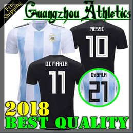 Wholesale Quick Stop - Argentina 2018 Soccer Jersey 2018 Argentina home away Jersey Home DYBALA soccer Shirt Messi Aguero Di Maria Mascherano football uniform