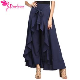 Wholesale Palazzo Chiffon - Wholesale-Dear Lover Autumn 2017 Maxi Trousers Womens OL Elegant Pantalon Mujer Chiffon Tie-Waist Ruffle Long Palazzo Pants Femme LC77034