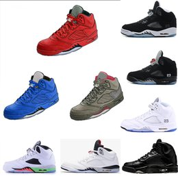 Wholesale Mens Basketball Sneakers Cheap - 2018 cheap 5 5S mens Basketball Shoes Red blue Suede International Flight UNC Black Olympic Black Fire athletic Sport sneaker drop shipping