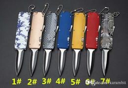 Одиночные фонарики онлайн-Мини-нож Halotf D / E BLADE одиночного действия Атласный карманный автоматический нож