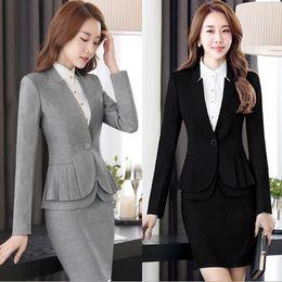 1cbb97cfc144 Office Uniform Designs Taglie donna Completo da lavoro 2 pezzi Set giacca e  pantaloni   gonne EleWoman Suit With Skirt Nero Grigio