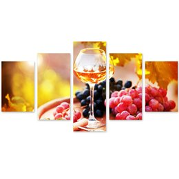 Wholesale Framed Paintings Fruit - MingTing - 5 Panel Canvas Wall Art Fruit And Wine Poster Painting Modern Home Decor For Living Room Study Room No Frame