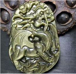 2019 drago in pietra scolpita Ciondolo con ciondolo drago in pietra di ossidiana d'oro naturale intagliato a mano drago in pietra scolpita economici