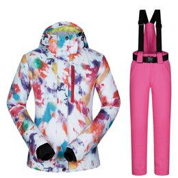 7fce76803d Chinese Ski Suit Women Brands Outdoor Thermal Waterproof Windproof  Breathable Snow Jackets and pants Set Winter
