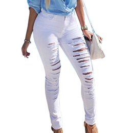 Wholesale Sexy Destroyed Jeans - Fashion Ripped Jeans High Waist Skinny Jeans Stretchy Destroyed Women Pants Trousers Sexy Hole Woman White Pencil Jean