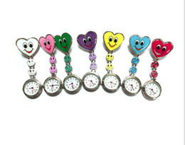 Wholesale Heart Stationary - Heart Shape Cartoon Smile Face Nurse Watch Clip On Fob Brooch Hanging Pocket Watch Fobwatch Nurse Medical Tunic Watch