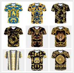 золотой цвет цветок Скидка Бренд-дизайнер -лето новый 3D футболки мужская футболка золотые цветы Львы синяя полоса письмо американский флаг США Орел печатных мужская короткие Sleev