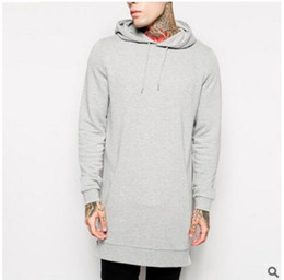 Wholesale Men S Tall - Black fallow mens longline hoodies men fleece solid sweatshirts fashion tall hoodie hip hop side zipper streetwear extra long hiphop