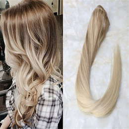 2019 haarverlängerungen Einteiliger Clip in Haarverlängerung Bordic Ombre Balayage Farbe Langes gerades Remy-Haar Leicht zu tragen 3/4 Voller Kopf 5 Clips günstig haarverlängerungen