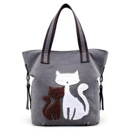 Wholesale Printed Vintage Canvas Bags - New Fashion Cute Cat Women Canvas Handbags Female Causal Tote Bag Designer Ladies Solid Shoulder Bags Travel Bolsos Mujer