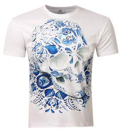 Wholesale Man 3d Model - Factory direct foreign trade explosion models new European and American men's 3D short sleeve skull print T-shirt
