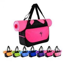 Wholesale wholesale fitness supplies - 9 Colors Multifunctional Yoga Bag Fitness Mat Yoga Backpack Waterproof Supplies Bag Yoga Mat Storage Bag CCA9364 10pcs