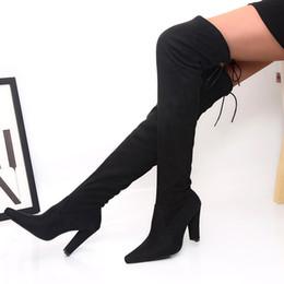 botas por encima de la rodilla Rebajas SLHJC Botas de mujer largo por encima de la rodilla Volver Lace High Bombas de tacón grueso Botas Zapatos Otoño Invierno Moda Motocicleta Bota 10 cm