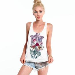 Wholesale modest wholesale - Halloween Rose Skeleton Tank Top Women Tee Comfort Running T-Shirt Modest Vest Summer Singlet Blouses White Camisoles Lady FTBBG