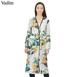 Wholesale elegant fashions coats - Vadim women elegant floral kimono coat open stitch sashes long sleeve outerwear ladies casual fashion long tops CT1474