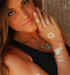 2019 padrões de tatuagem de pé Metálico 24 K Ouro Body Art Tatuagem Temporária Sexy Tatuagem Etiqueta Não-Tóxico Tatuagens À Prova D 'Água Etiqueta Bling Bling Tats Carnaval Partido Fornecimento