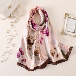 ladies silk christmas scarves Coupons - 2018 summer fashion print new silk scarves for women shawls and wraps winter foulard lady  gift for Christmas