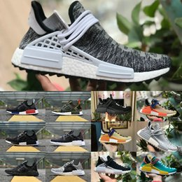 Wholesale pink polka dots - New 2018 pharrell williams nmd human race men women running sports shoes black white nmds primeknit PK runner XR1 R1 R2 Casual Sneakers