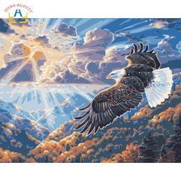 pinturas águias águias Desconto Pinturas a óleo de colorir por números na lona águia montanha fotos desenhar por números na parede home decor art ofício presente W6761