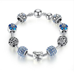 Wholesale silver crystal ball bracelet - Antique Silver Charm Bracelet & Bangle with Love and Flower Crystal Ball Women Wedding Mother's Day Gift PA1455