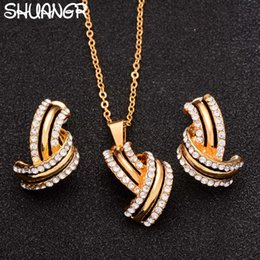 Wholesale Classic Costume Jewelry Wholesale - SHUANGR Classic Imitation Pearl necklace Gold-color jewelry set for women Clear Crystal Elegant Party Gift Fashion Costume