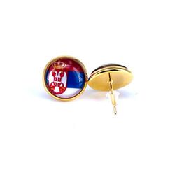 2018 drapeau national boucle d'oreille Russie Espagne France Allemagne Brésil drapeau boucle d'oreille 14mm verre Gem Cabochon cuivre bijoux B18126 ? partir de fabricateur
