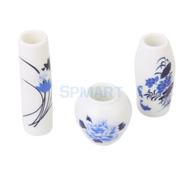 Wholesale Miniature Vases - 3pcs Doll House Miniature Plastic Flower Vase with Blue Painted Floral