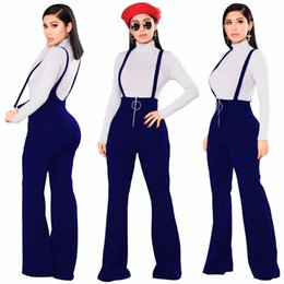 Wholesale Boot Red Zipper - England Style Rompers Women Jumpsuit Solid Strap Bodysuit Women Boot Cut Playsuit High Waist Overalls G076