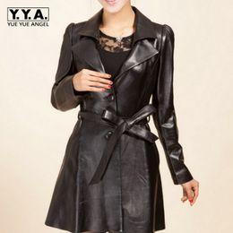 Wholesale Korea Slim Women Coat - Plus Size New Korea Fashion Long Sleeve Belted Faux Leather Women Jacket Slim Fit Coat Female Top Quality Jaqueta Couro Casaco
