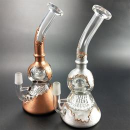 vasos de agua modernos Rebajas Tortuga Design golden silver Bong Mini Heady Glass Bongs Showerhead Perc Pipes de agua Pequeño Dab Rig Plataformas petroleras de colores con un tazón de vidrio