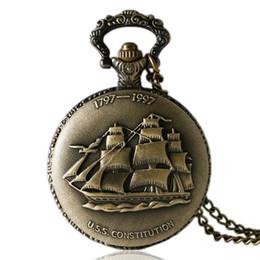2019 лодочный холст Античная бронза стимпанк холст лодка кварцевые карманные часы для мужчин женщин старинные доставка с ожерелье подарки Reloj де Bolsillo дешево лодочный холст