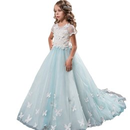 14 años chicas vestidos de fiesta online-Vestido de niña de las flores Brithday Vestido de fiesta Niñas lujosas Vestidos de azul menta de 0-14 años