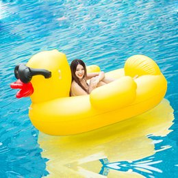 Wholesale inflatable cartoon toys - Inflatable Giant Yellow Duck Float 200*170*125CM PVC Summer Outdoor Ride-On Pool Toys Large Floatie Lounge Fun Adult Kid Swim Party Toys