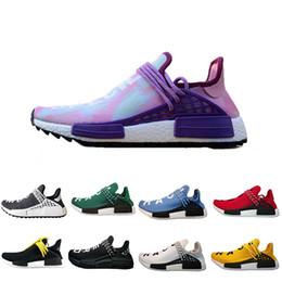 97da9aa90051d 2018 new human race Pharrell Williams running shoes holi Equality Blank  Canvas core black sun women men trainers sports Sneakers size 36-46 black  white ...