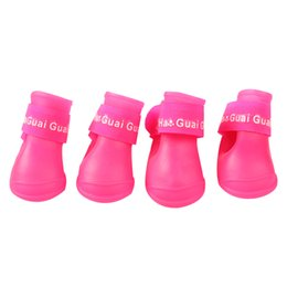 free dog shoes Coupons - 4pcs set Pet Dog Shoes Waterproof Rain Pet Shoes for Small Dogs Puppy Rubber Boots Candy Color Puppy Shoes Pet Dog Products free shipping
