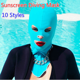 Wholesale waterproof swim caps - Solid Swimming Hood Caps Waterproof Sunscreen Mask UV Protect Swimming Hat Diving Face Gini Unisex Sports Full Face Mask