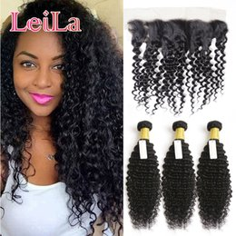 Wholesale Natural Color Hair Extensions - Human Hair Extensions Weft Malaysian Deep Wave Curly 3 Bundles With 13 X 4 Lace Frontal Hair Weaves Hair Bundles With Frontal 4 Pieces lot