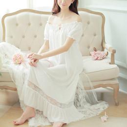 d99743bb2 2018 mujeres camisones de algodón Lolita ropa para el hogar camisón largo  de encaje con volantes ropa de dormir Homewear Vintage princesa Sleepshirts